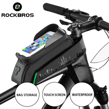 цена на ROCKBROS Front Bike Bag Phone Bicycle Bag Bicycle Tube Waterproof Touch Screen Saddle Package For phone Bicycle Accessories