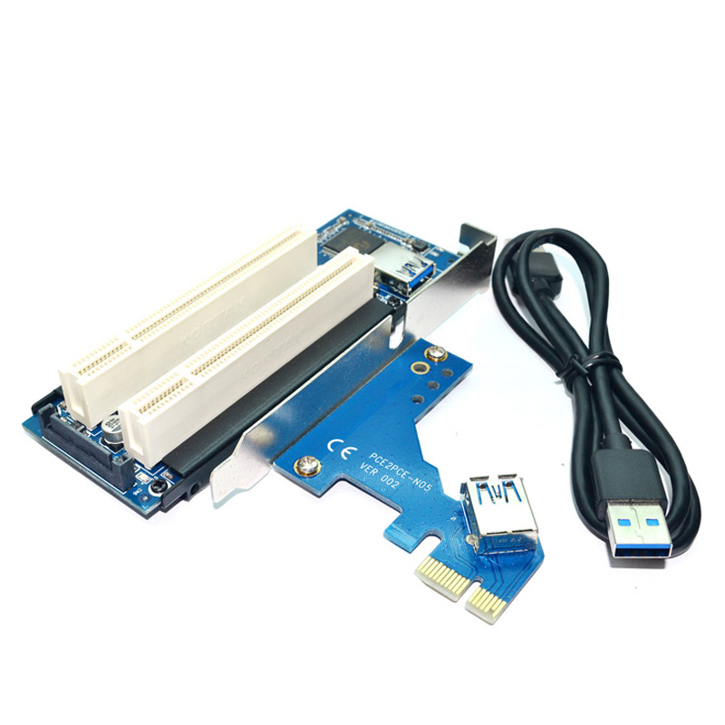 Desktop Pci-Express Pci-E To Pci Adapter Card Pcie To Dual Pci Slot Expansion Card Usb 3.0 Add On Cards Convertor