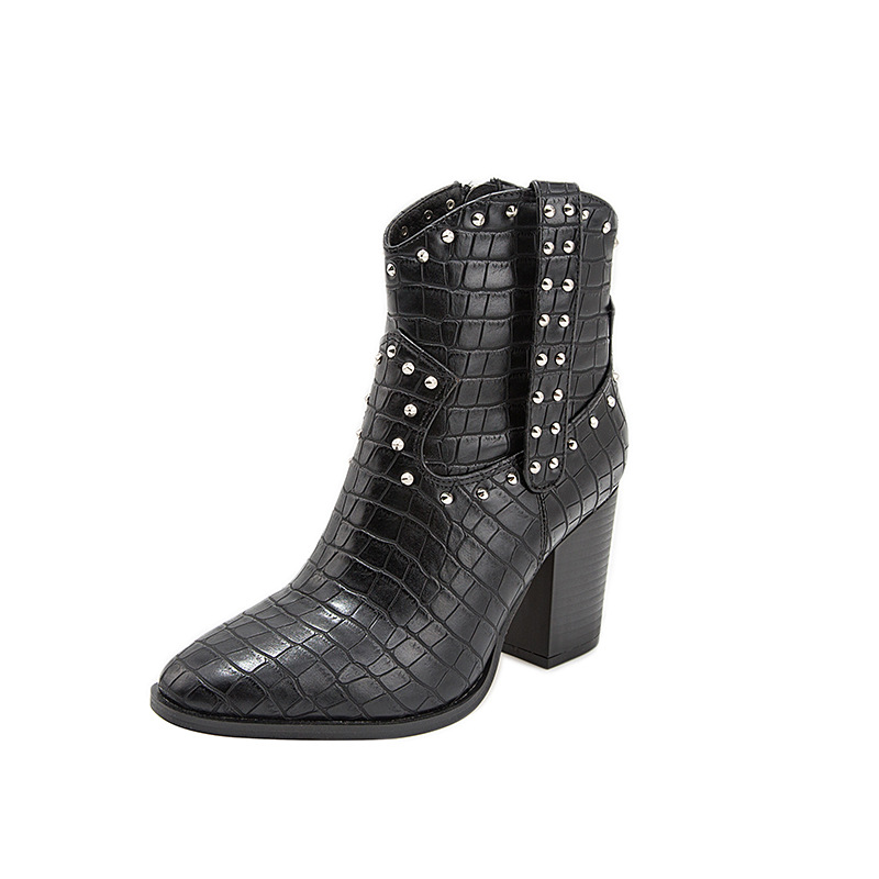 Women Motorcycle Western Cowboy Boots PU Leather Cossacks High Heels Cowgirl Booties Women Ankle botas size 35-43