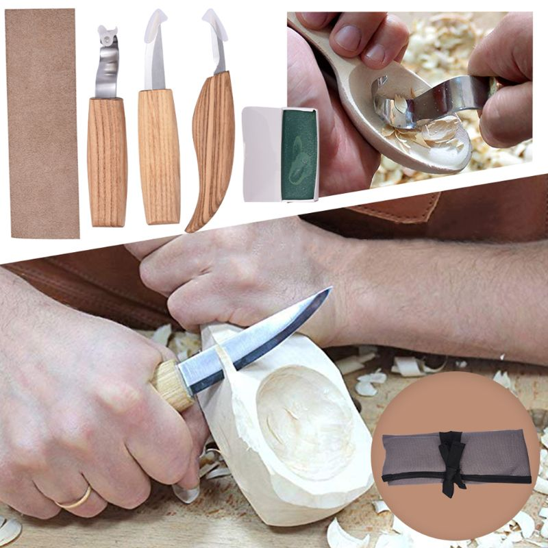 5 Pcs Set Woodworking Carving Tools Knife Sharp-edged Wood Gouge Chisels DIY Cutter  M0XD