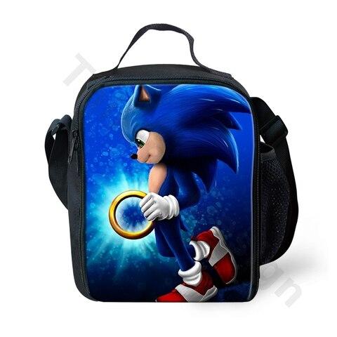 Bolsas de Almoço para as Crianças dos Desenhos Thikin Moda Sonic Hedgehog Imprimir Animados 3d Padrão Lancheira Caixa Comida Personalizado 2020 The