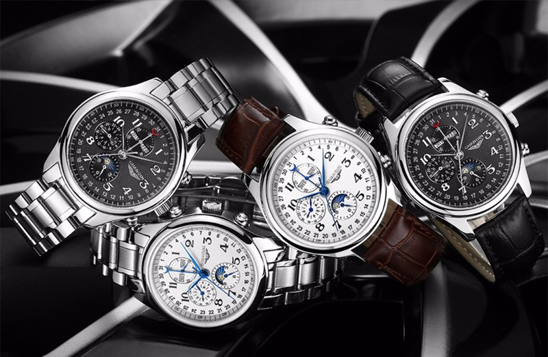 H575cdaa4de5a49e09eca36ec0e22f051d GUANQIN Relogio Masculino Automatic Mechanical Men Watches Waterproof Calendar Moon Leather Wristwatch otomatik erkek saat