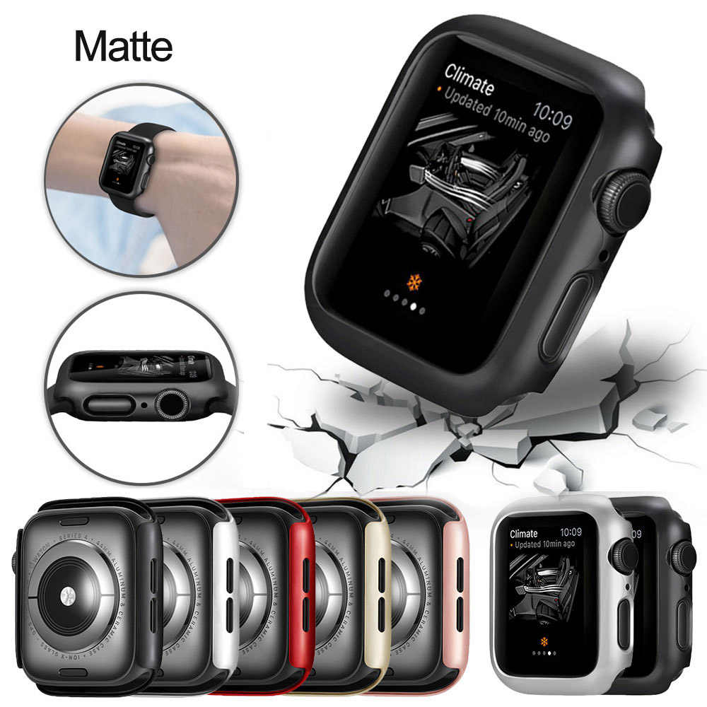 Matte cover For Apple Watch Series 5 4 38MM 44mm 40mm Frame Protective Case Cover Shell Perfect Bumper Case for iWatch 5 4 Cover