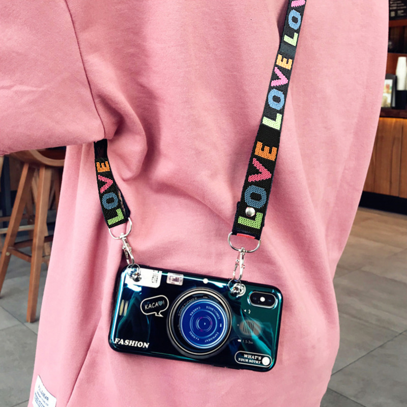 Fashion 3D Retro Camera lanyard Standing Case For iPhone And Samsung S8 S9 3