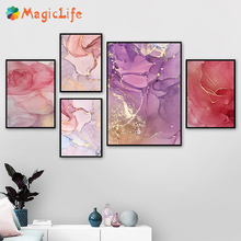 Marble grain wall art canvas painting  Abstract Colorful Golden Petals Ink Nordic Print Scandinavian Decoration unframed