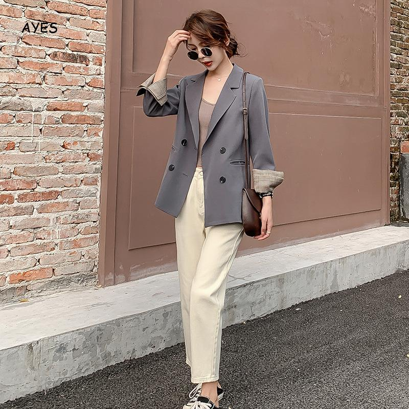 Women Autumn Solid Jacket Suits Double Breasted Blazers Long Sleeve Notched Collar 2020 OL Office Wear Blazer Coat Casual Blazer