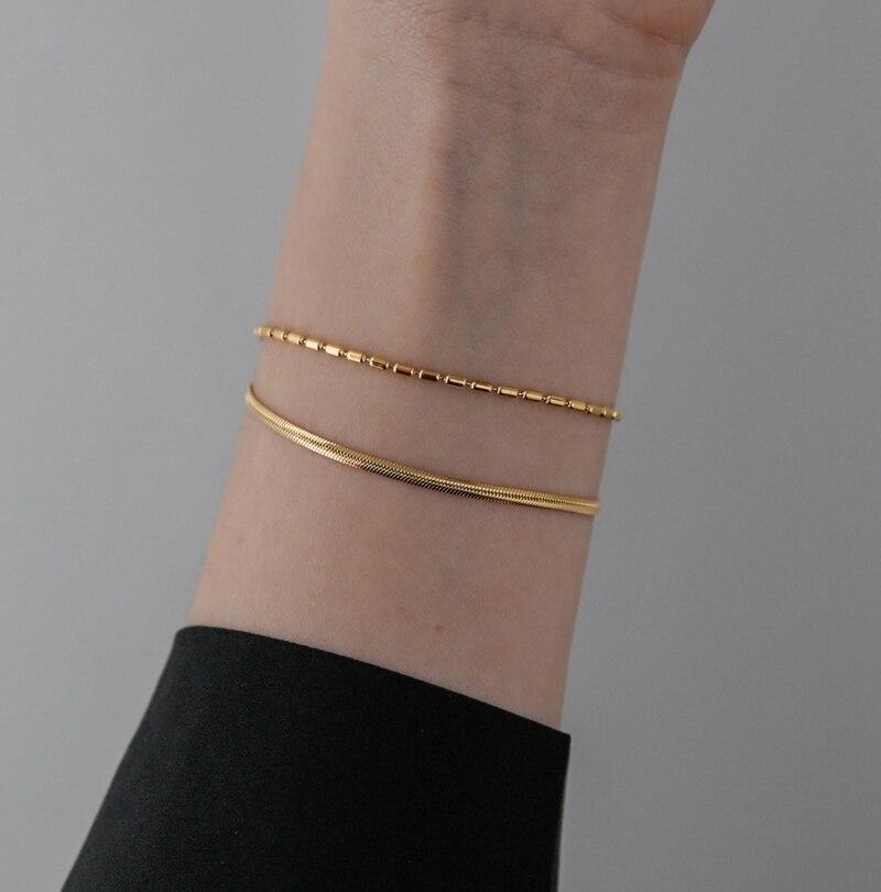 Модный позолоченный двойной Змеиный браслет YUN RUO 2020 из 18 карат, популярные женские ювелирные изделия из нержавеющей стали для девочек, не вы...