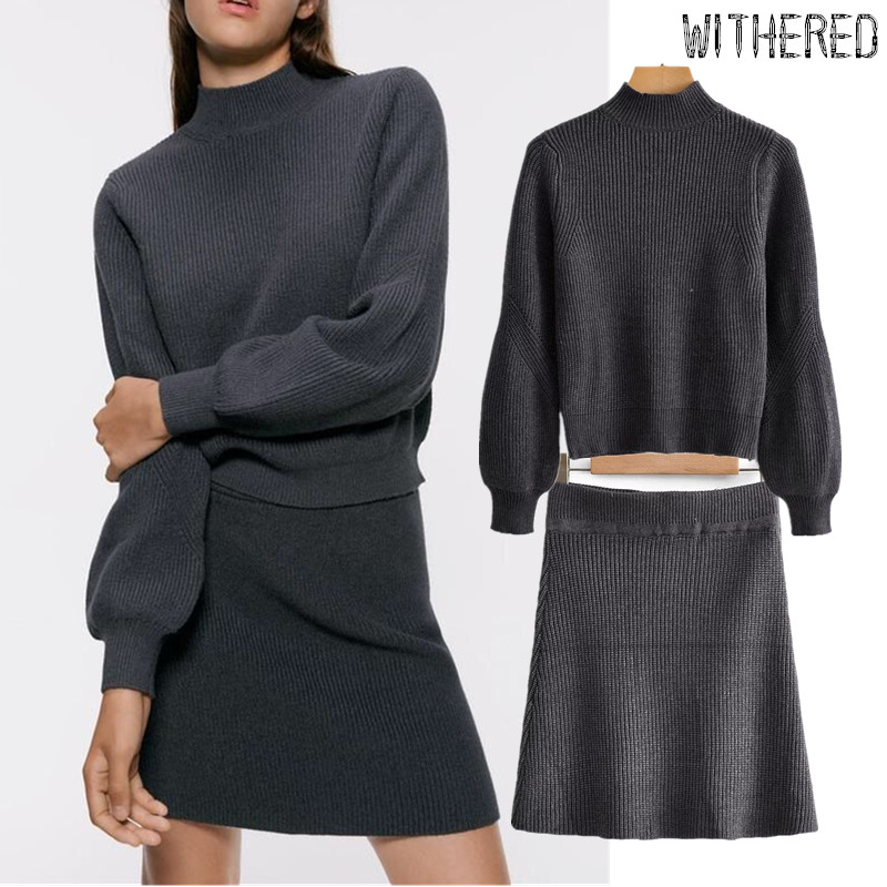 Withered England Simple Winter Sweaters Women Pull Femme Pullovers Knitting Faldas Mujer Moda 2019 Skirts Womens 2 Pieces Set