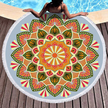 Boho Beach Towels Printed Abstract Mandala Towel Microfiber Round Fabric Bath For Living Room Home Decorative