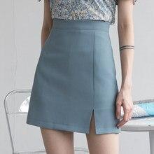 HELIAR femmes jupes Preppy Style a-ligne taille haute fendu Mini jupes femmes solide élégant décontracté OL jupes pour les femmes 2021 printemps