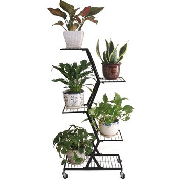 Multilayer, Wrought Iron Balcony Decoration Showy Plant  In The Living Room Floor, Green Potted Frame Money  Flow