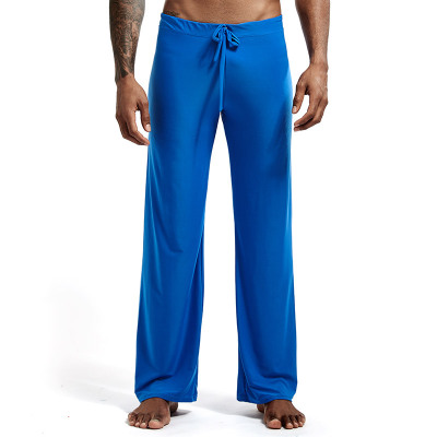 Home-Pants Loungewear Ice-Silk Long-Sleeved Sexy Fashion Slippery Low-Waist Loose's Men