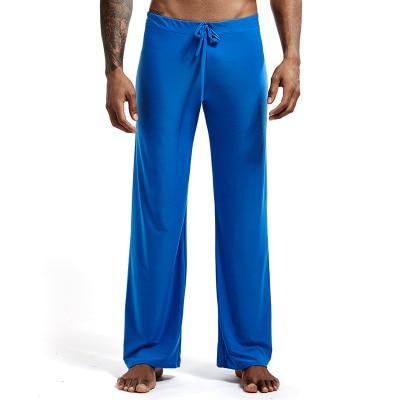 Home-Pants Loungewear Ice-Silk Long-Sleeved Sexy Fashion Slippery Low-Waist Loose's Men