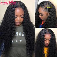 West Kiss Hair-peluca con cierre 4X4, cabello humano rizado malayo, prearrancado con pelo de bebé, peluca con malla frontal, cabello Remy transparente