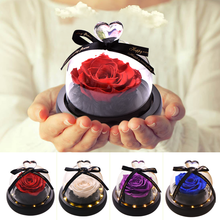 LED Lighted Artificial Rose Flower in Glass Dome Beauty and Beast Eternal Night Lamp Wedding Anniversary Gift for Her