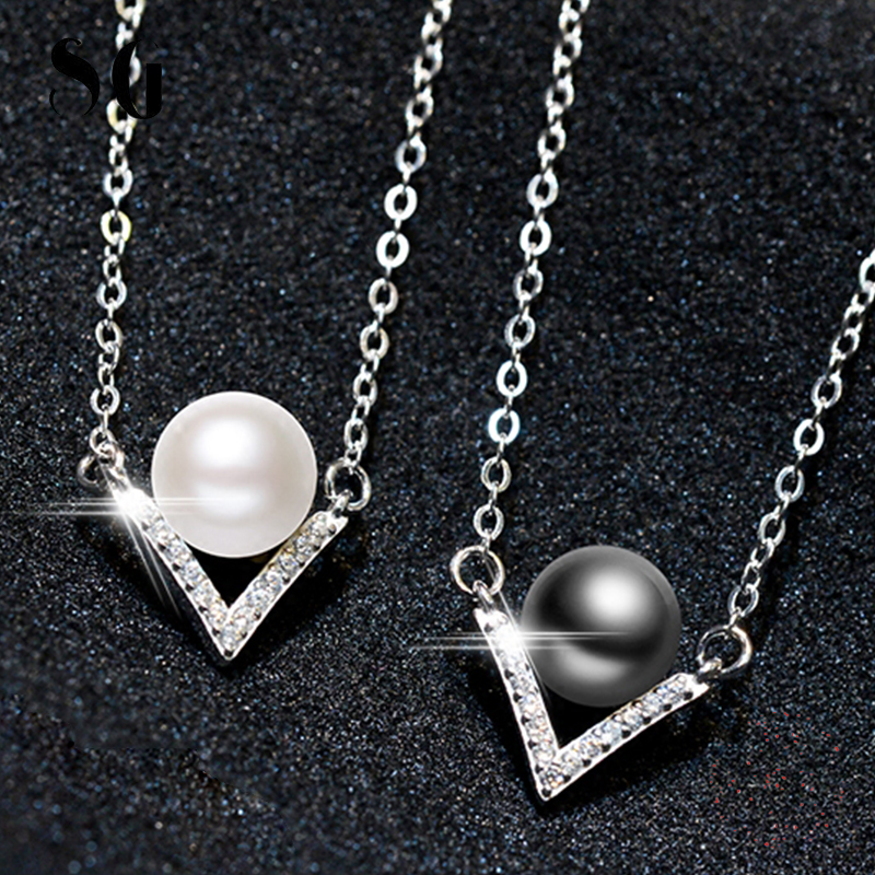 925 silver geometric V CZ crystal white/gray Freshwater Pearls pendant necklace for women wedding fashion Collar jewelry 2019