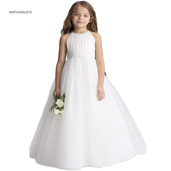 Cheap Long Princess Dresses White Flower Girls Dresses For Wedding Children Birthday Party Dress Little Girls Prom Pageant Gown infant toddler pageant cute princess girls sequins flower party dress gown bridesmaid prom dresses