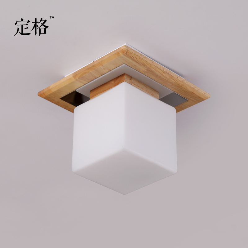 Japanese Wood Led Ceiling Light  Square Glass Entrance Corridor  Bedroom Lights 20*20cm