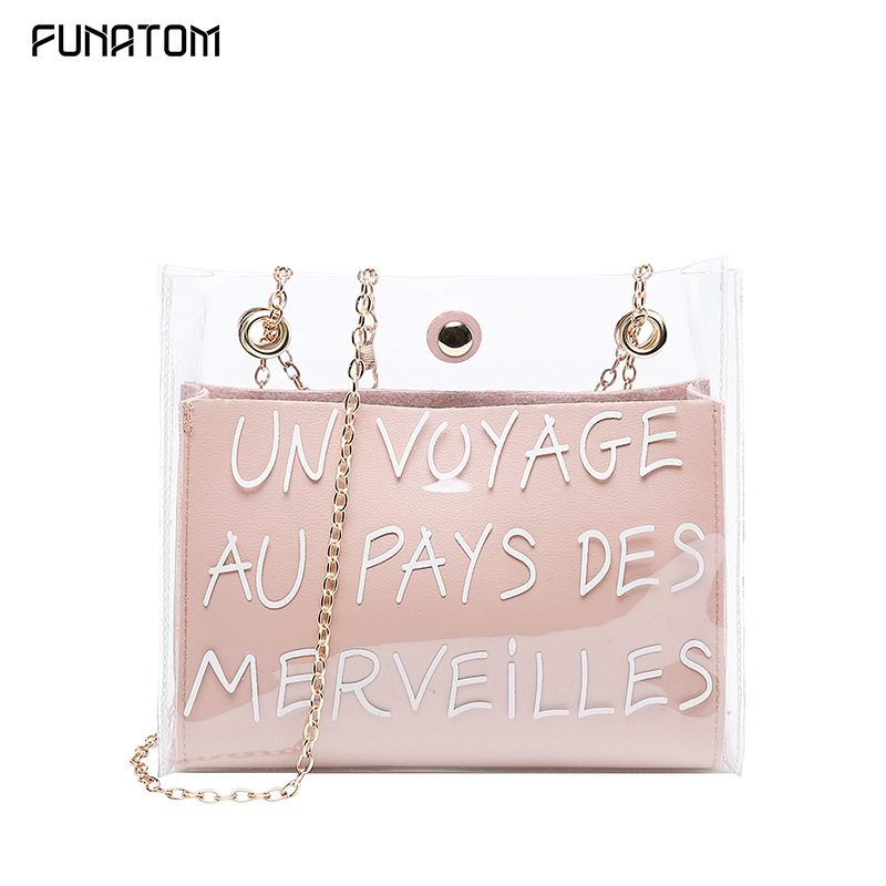 Women Letter Printed Shoulder Bag Fashion Chain PVC+PU Transparent Pink Casual Bag Handbag Zipper Messenger Bags Sac Main Femme