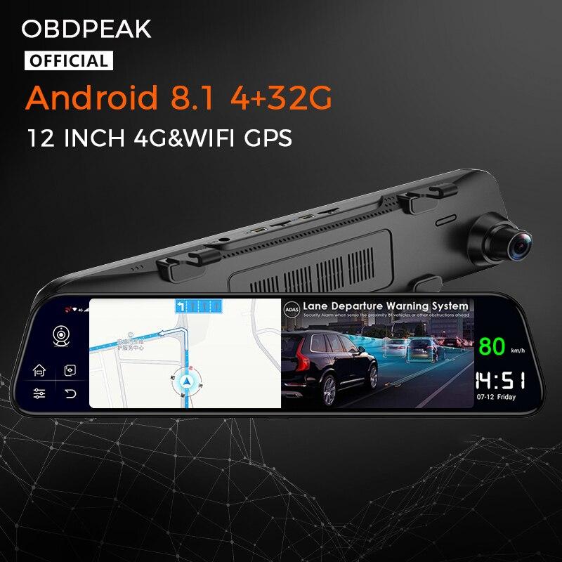 """OBDPEAK Android 8.1 4G 32G 12 """"Car DVR Cam specchietto retrovisore Stream Media GPS Navi ADAS Super Night Dash Cam 1080P Camera Car Dvr"""