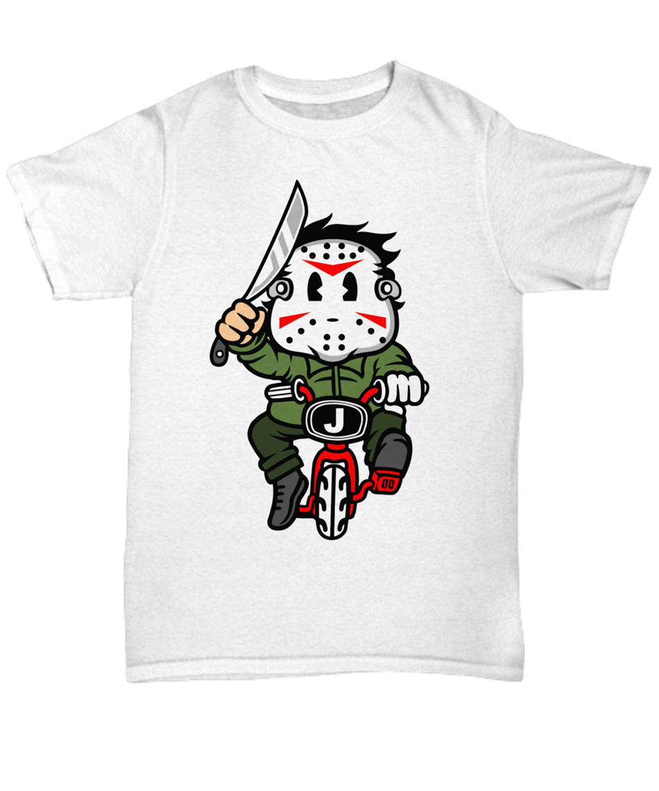 Cartoon Killer Riding a Bike Halloween Unisex <font><b>Parody</b></font> <font><b>Tshirt</b></font> Unisex T vintage O Neck Tee Shirt image