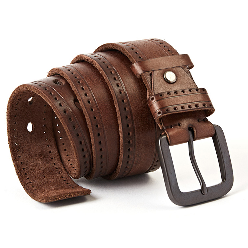 Top Layer Leather Cowhide Belt Fashion Technology Men Belt Imported Alloy Buckle Strap Wide Cinto Masculino Luxury Cummerbund