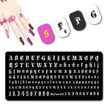 Estilo gótico carta placa do prego velho inglês alfabeto stamper tamanho pequeno para unhas arte carimbar modelo #018
