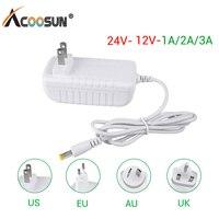 Power Adapter DC 24 V 12V 1A 2A 3A Netzteil DC 12 24 V Volt Ausgang Interface 5,5mm * 2,1mm Power Adapter EU US UK AU Stecker