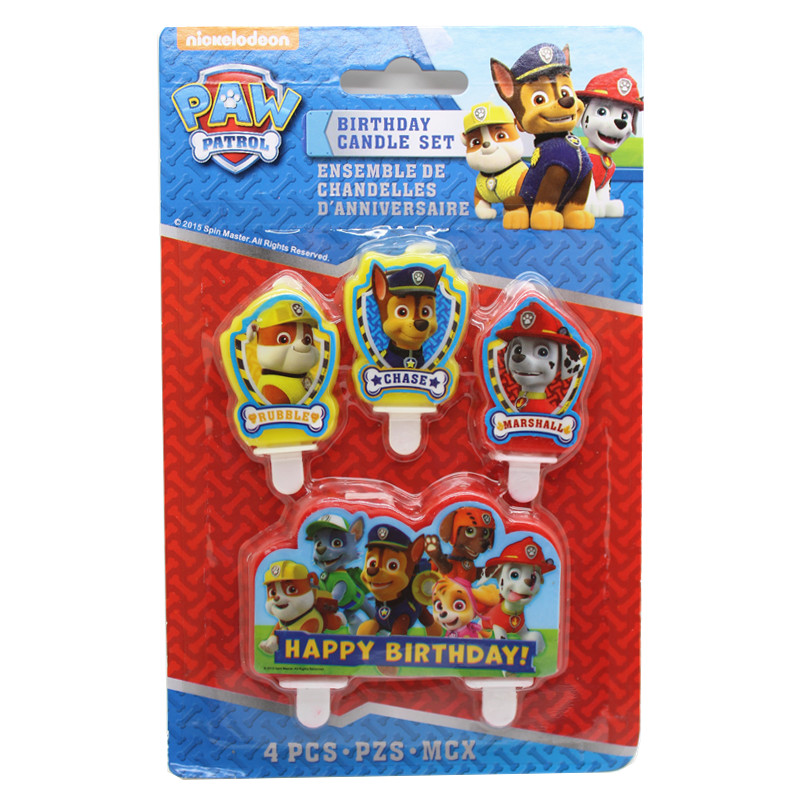 Paw Patrol Senior Cake Candle Puppy Fruit Plug Patrulla Canina Children Birthday Party Supplies 40L