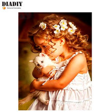 "DIADIY Full Square/Round Drill 5D DIY Diamond Painting""Little girl cat""Embroidery Cross Stitch 3D Home Decor Wall Stickers Gift(China)"