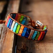 Чакра браслет ювелирные изделия ручной работы Многоцветный натуральный камень трубки бусины Кожа обертывание браслет Парные браслеты подарки