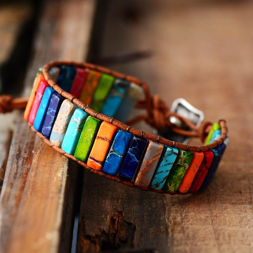 Chakra Bracelet Jewelry Handmade Multi Color Natural Stone Tube Beads Leather Wrap Bracelet Couples Bracelets Gifts(China)