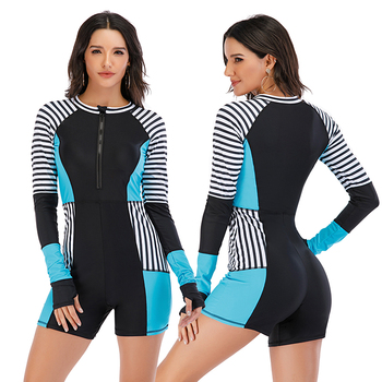 Mesh Front Long Sleeve Swimwear Sport Surfing Swimming Suit 5