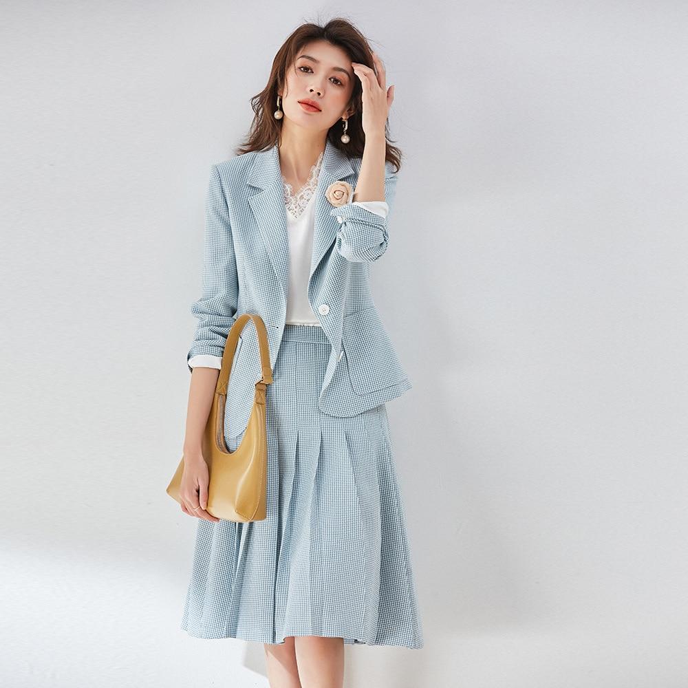 Women's Formal Skirt Plaid-Suits