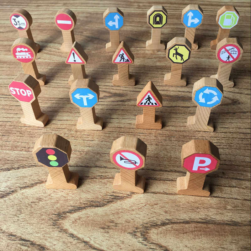 Free shipping Wooden Track Accessories Signpost Traffic Signs Kids Cognitive Toy Combination Scene Compatible Wooden Track