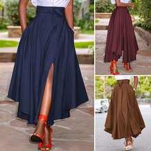 Longues Jupes longues ZANZEA Femme Jupes D'été Vintage Fermeture À Glissière Taille Haute Jupe A-line Solide Irrégulière Jupe de Plage Faldas Saia S-5XL