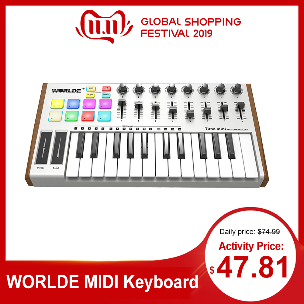 WORLDE TUNA MINI Ultra-Portable 25-Key USB MIDI Keyboard Controller 8 RGB Backlit Trigger Pads With 6.35mm Pedal Jack