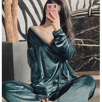 JULY'S SONG Fashion Velvet Pajamas 2 Pieces Set Woman Deep V-neck Casual Sexy Slim Spring Autumn Long Sleeves Sleepwear - discount item  48% OFF Women's Sleep & Lounge