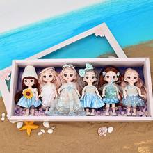 6pcs/set BJD Dolls 13 Movable Jointed 16cm bjd Girl Doll 3D Eyes Dress Up Make Up Toys Girls Gift With Gift Box
