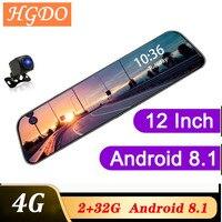 HGDO 4G 12 pouces Dash cam double lentille rétroviseur voiture dvr Android 8.1 2 + 32G ADAS Navigation Full HD enregistreur vidéo