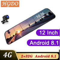 HGDO 4G 12 pulgadas Dash cam doble lente espejo retrovisor coche dvr Android 8,1 2 + 32G ADAS navegación Full HD grabadora de vídeo