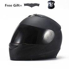 carbon fiber print Motorcycle  Full Face Helmet color Visor Sun Shield Matt Black; Size L (22.4-22.8 Inch)