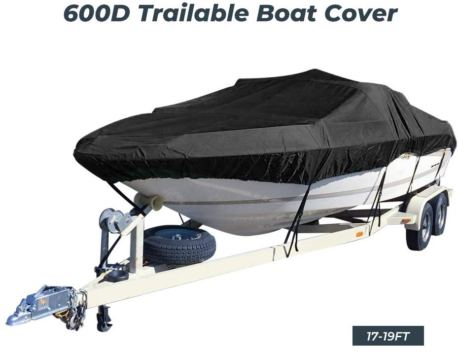 Boat Outboard Cover Waterproof Runabout Boat Cover For Ski Jet V-Hull Trailer Fishing Ski Pro-Style Bass Boats 14ft-16ft 17-19ft