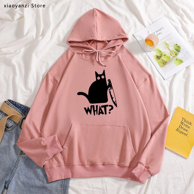 At What Hoodies Murderous Cat Knife Funny Sweatshirts Women Sportswear Loose Pullovers Cotton Women Black Hoodies