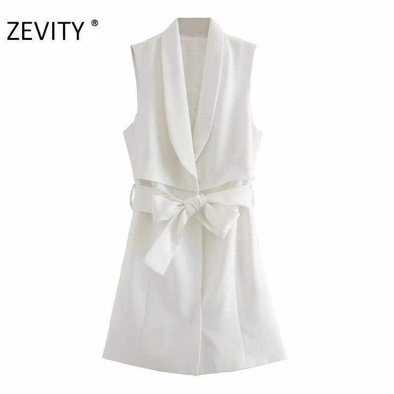 ZEVITY New women fashion solid color bow tied sashes mini dress female sleeveless pocket vest vestido chic casual dresses DS4271