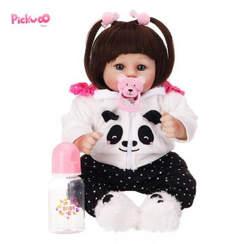 Pickwoo 48cm bebes reborn doll Baby girl Dolls soft Silicone Boneca Reborn Brinquedos Bonecas children's toys bed time plamate