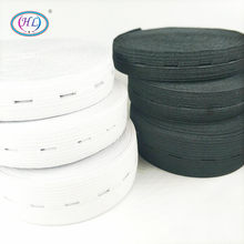 HL-Accesorios de costura DIY, bandas de cintas elásticas de punto con agujero de botón, cinta de alambre blanco/Negro, 15/20/25MM, 3 metros
