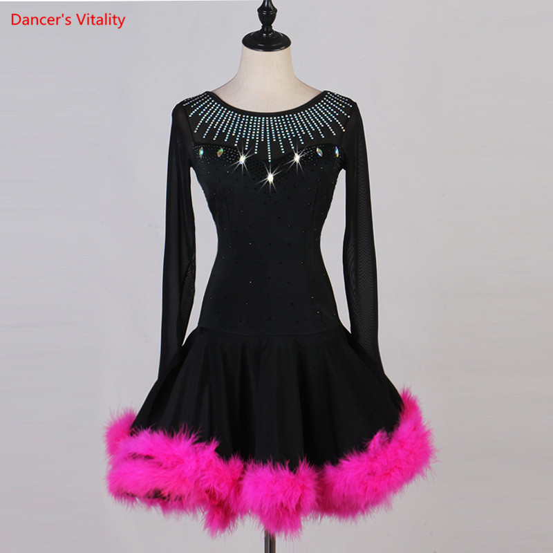 Latin Dance Competition Dress Women Latin Dress Feathers Dance Wear Women Dance Costumes Salsa Dress Samba Costumes