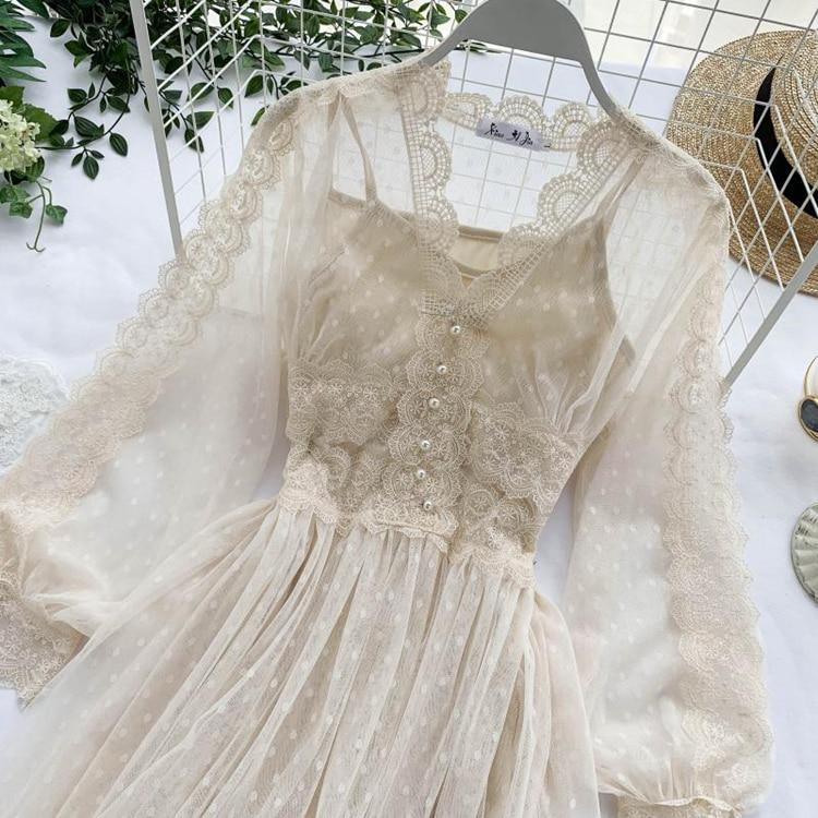 Lace Floral V-Neck Long Sleeve Polka Dot Dress 8