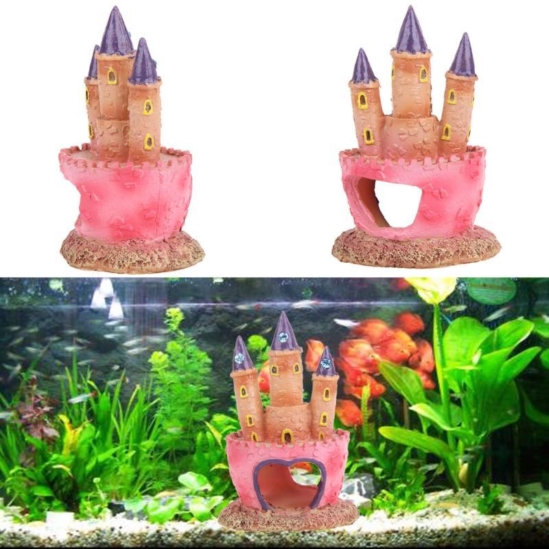 Cartoon Pink Resin Castle Aquariums Fish Tank Landscape Decorations Tower Ornaments For Aquatic Fish Pets Supplies Aquarium(China)